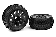Team Corally - Off-Road 1/8 Truggy Tires - Glued on Black Rims - 1 pair