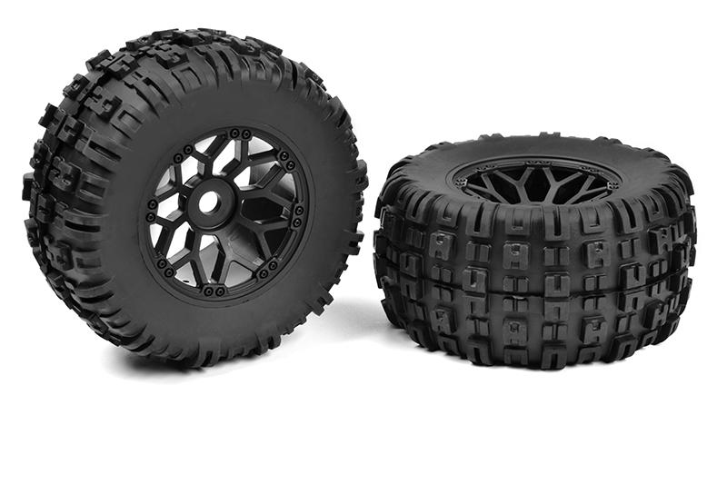Team Corally - Off-Road 1/8 MT Tires - Mud Claws - Glued on Black Rims - 1 pair