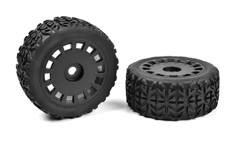 Team Corally - Off-Road 1/8 Truggy Tires - Tracer - Glued on Black Rims - 1 pair
