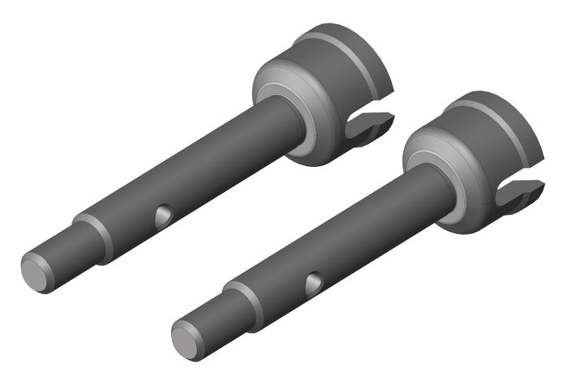 Wheel Shaft - Rear - Steel - 2 Pcs