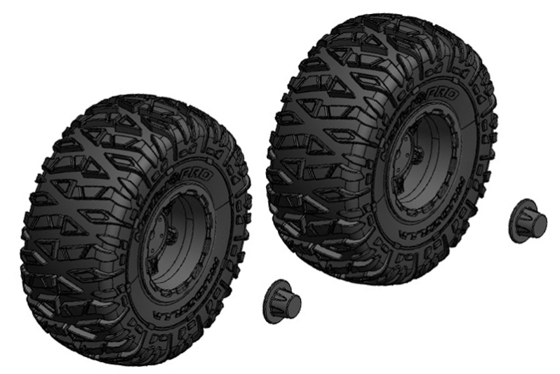 Tire and Rim Set - Truck - Black Rims - 1 Pair