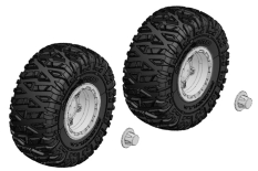 Team Corally - Tire and Rim Set - Truck - Chrome Rims - 1 Pair