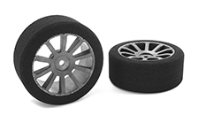 Team Corally - Attack foam tires - 1/10 GP touring - 42 shore - 26mm Front - Carbon rims - 2 pcs