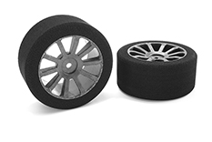 Team Corally - Attack foam tires - 1/10 GP touring - 40 shore - 30mm Rear - Carbon rims - 2 pcs