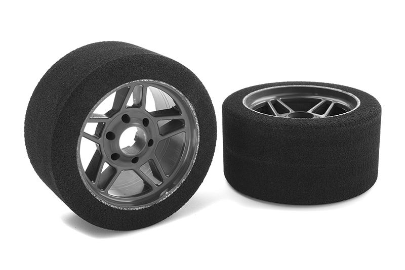 Team Corally - Attack foam tires - 1/8 Circuit - 32 shore - Front - Carbon rims - 2 pcs