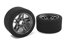 Team Corally - Attack foam tires - 1/8 Circuit - 32 shore - Front - Carbon rims - 2 pcs