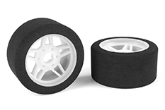 Team Corally - Attack foam tires - 1/8 Circuit - 32 shore - Front - Light rims - 2 pcs