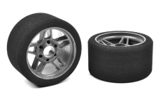 Team Corally - Attack foam tires - 1/8 Circuit - 35 shore - Front - 69mm - Carbon rims - 2 pcs