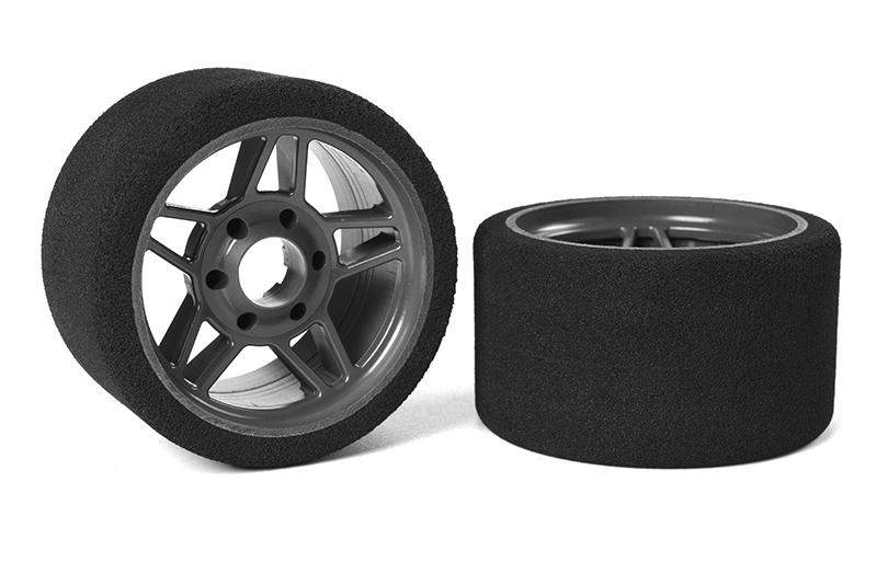 Team Corally - Attack foam tires - 1/8 SSX-8 - 30 shore - Front - 65mm - Carbon Flex Rims - 2 pcs