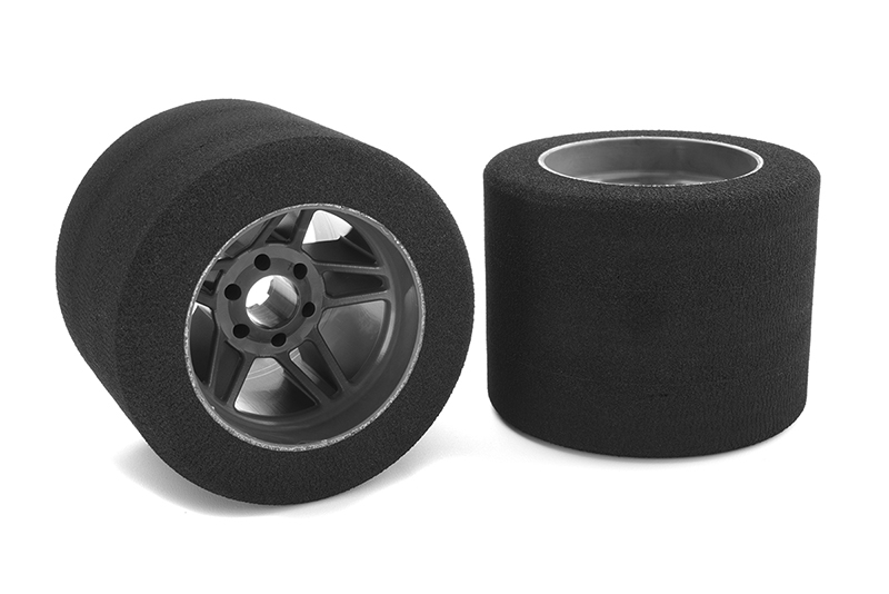 Team Corally - Attack foam tires - 1/8 Circuit - 35 shore - Rear - Carbon Flex rims - 2 pcs