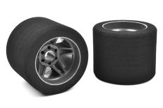 Team Corally - Attack foam tires - 1/8 Circuit - 32 shore - Rear - 76mm - Carbon rims - 2 pcs