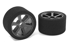 Team Corally - Attack foam tires - 1/12 Circuit - 32 shore Magenta - Front - Carbon rims - 2 pcs