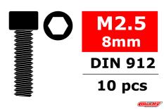 Team Corally - Steel Screws M2.5 x 8mm - Hex Socket Head - 10 pcs