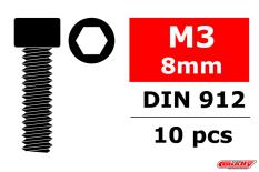 Team Corally - Steel Screws M3 x 8mm - Hex Socket Head - 10 pcs