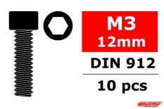 Team Corally - Steel Screws M3 x 12mm - Hex Socket Head - 10 pcs