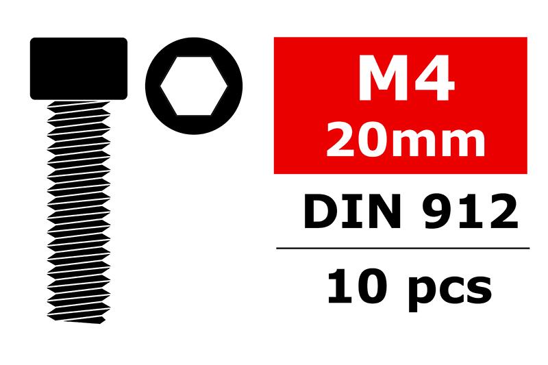 Team Corally - Steel Screws M4 x 20mm - Hex Socket Head - 10 pcs