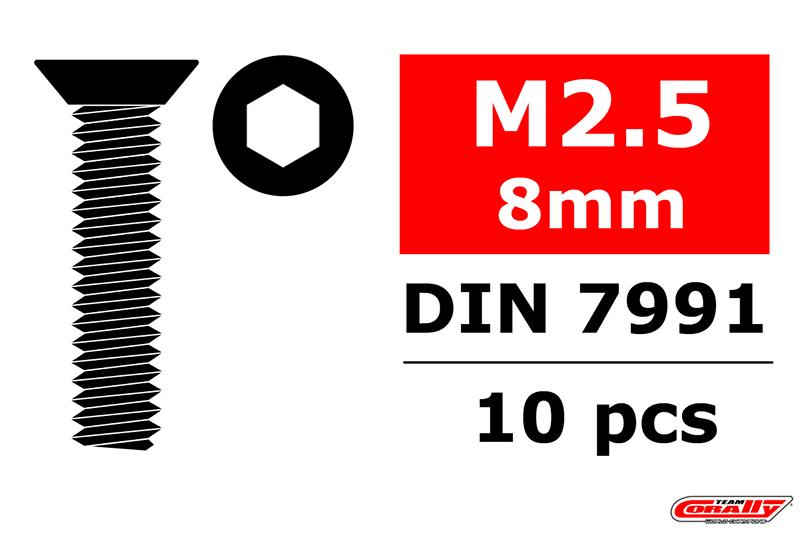 Team Corally - Steel Screws M2.5 x 8mm - Hex Flat Head - 10 pcs
