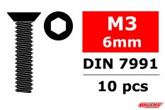 Team Corally - Steel Screws M3 x 6mm - Hex Flat Head - 10 pcs