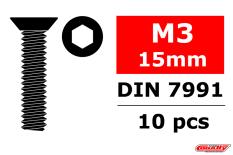 Team Corally - Steel Screws M3 x 15mm - Hex Flat Head - 10 pcs
