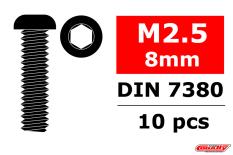 Team Corally - Steel Screws M2.5 x 8mm - Hex Button Head - 10 pcs