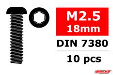 Team Corally - Steel Screws M2.5 x 18mm - Hex Button Head - 10 pcs