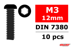 Team Corally - Steel Screws M3 x 12mm - Hex Button Head - 10 pcs