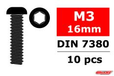 Team Corally - Steel Screws M3 x 16mm - Hex Button Head - 10 pcs