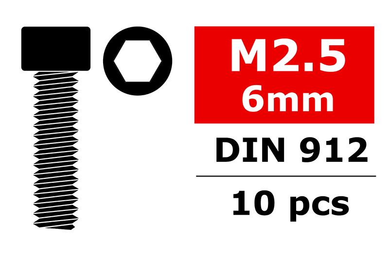 Team Corally - Steel Screws M2.5 x 6mm - Hex Socket Head - 10 pcs