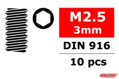 Team Corally - Steel Set Screws M2.5 x 3mm - Hex - 10 pcs