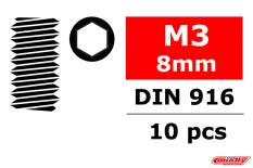 Team Corally - Steel Set Screws M3 x 8mm - Hex - 10 pcs
