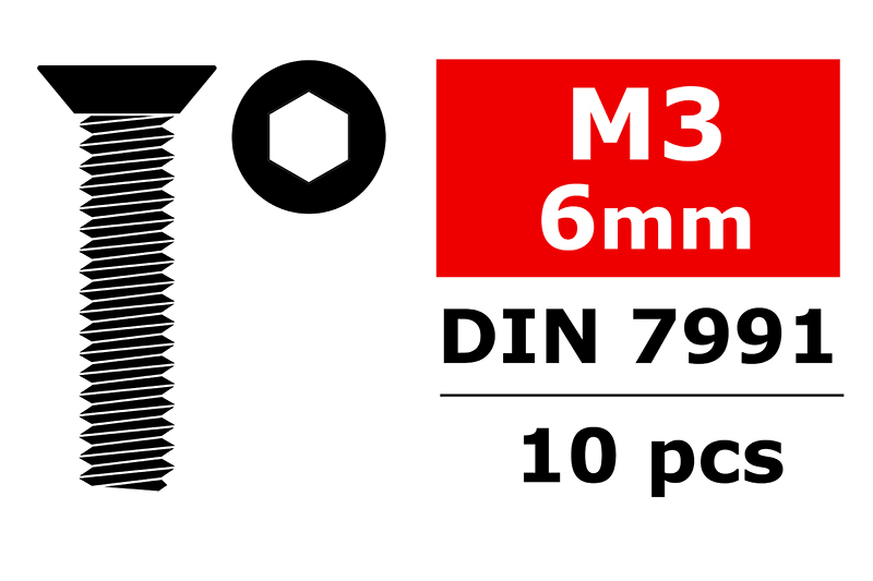 Team Corally - Steel Screws M3 x 6mm - Hex Flat Head - 10 pcs