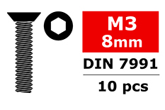 Team Corally - Steel Screws M3 x 8mm - Hex Flat Head - 10 pcs