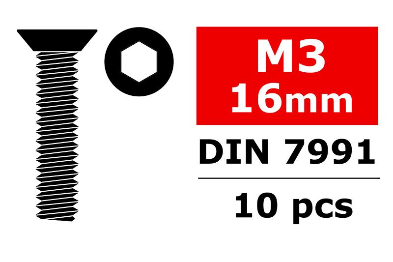 Team Corally - Steel Screws M3 x 16mm - Hex Flat Head - 10 pcs