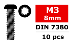 Team Corally - Steel Screws M3 x 8mm - Hex Button Head - 10 pcs