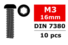 Team Corally - Steel Screws M3 x 16mm - Hex Button Head - 10 pcs