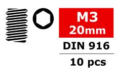 Team Corally - Set Screw - DIN 913 - M3x20 - 10 pcs