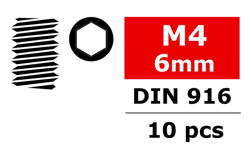 Team Corally - Steel Set Screws M4 x 6mm - Hex - 10 pcs