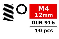 Team Corally - Steel Set Screws M4 x 12mm - Hex - 10 pcs