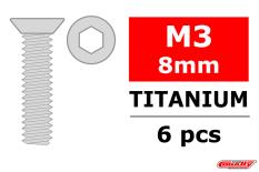 Team Corally - Titanium Screws M3 x 8mm - Hex Flat Head - 6 pcs