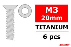 Team Corally - Titanium Screws M3 x 20mm - Hex Flat Head - 6 pcs