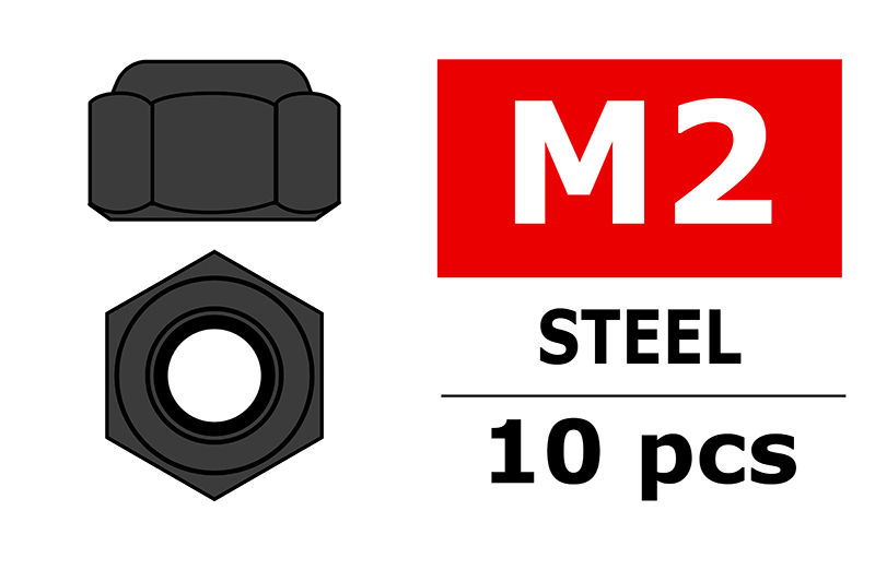 Team Corally - Steel Nylstop Nut M2 - Black Coated - 10 pcs