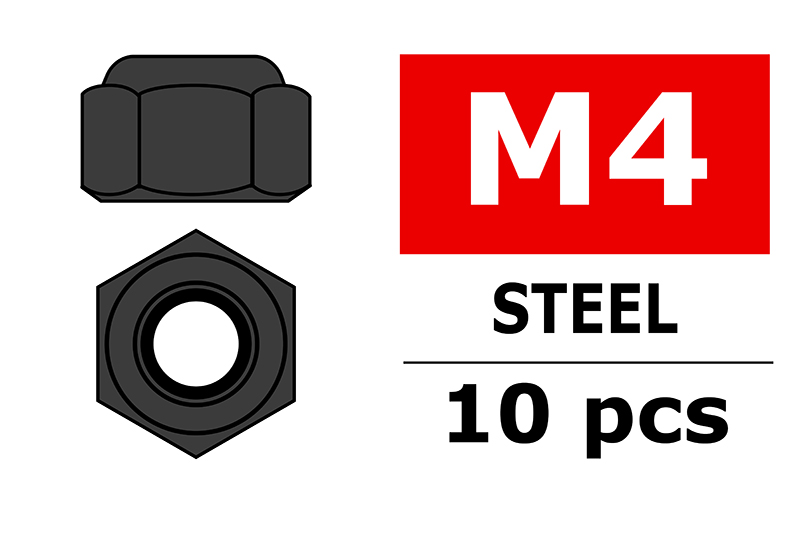 Team Corally - Steel Nylstop Nut M4 - Black Coated - 10 pcs