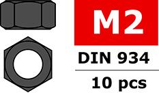 Team Corally - Steel nut M2 - Black coated - 10 pcs