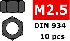 Team Corally - Steel nut M2,5 - Black coated - 10 pcs
