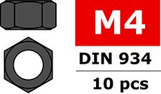 Team Corally - Steel nut M4 - Black coated - 10 pcs