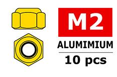 Team Corally - Aluminium Nylstop Nut - M2 - Gold - 10 pcs