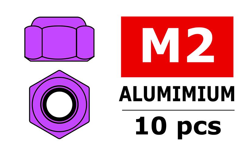 Team Corally - Aluminium Nylstop Nut - M2 - Purple - 10 pcs