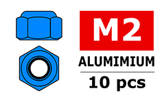Team Corally - Aluminium Nylstop Nut - M2 - Blue - 10 pcs
