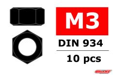Team Corally - Ecrou en acier M3 - Noir - 10 pcs