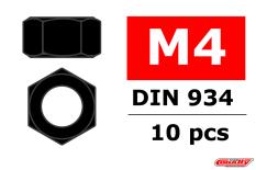 Team Corally - Ecrou en acier M4 - Noir - 10 pcs